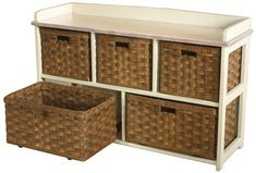 Amish Storage Bench with Handwoven Reed Baskets There are so many possibilities with this storage bench and basket combo! Set up a space to store crafting supplies, games, toiletries, photos and more. #storagebench #benchwithbaskets