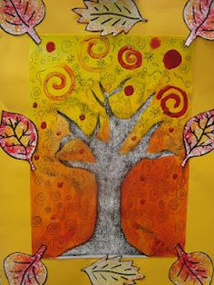 Once upon an Art Room: Trees...used a rubbing to make the tree and then painted around it. see how to.