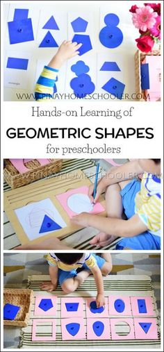Hands-on learning on geometric shapes using Montessori insets Montessori Practical Life, Montessori Homeschool, Montessori Toddler, Montessori Elementary, Homeschooling, Preschool Learning Activities, Preschool Activities, Kindergarten Learning, Teaching Reading