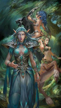 Fantastic Screen World Of warCraft girls Concepts : World of Warcraft Night Elves. Fantasy Girl, Fantasy Art Women, Beautiful Fantasy Art, Fantasy Warrior, Dark Fantasy Art, Fantasy Artwork, Elfa, Fantasy Character Design, Character Art