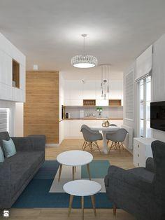 Mieszkanie w ciepłym skandynawskim stylu - Mały salon z kuchnią z jadalnią, styl skandynawski - zdjęcie od Design Factory Studio Projektowe