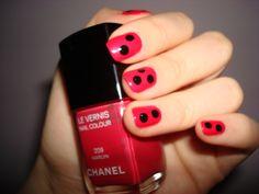 DIY Ladybugs #Chanel Nail Color 209 MARILYN