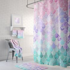 Bathroom Decor, Mermaid Shower Curtain – Bath Mats and Hand Towels can also be purchased on this listing – prices starting at - Modern Mermaid Bathroom Decor, Mermaid Wall Decor, Bathroom Kids, Octopus Bathroom, Girl Bathrooms, Mermaid Room, Basement Bathroom, Small Bathroom, Master Bathroom