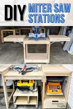Miter Saw Stand Plans, Diy Miter Saw Stand, Miter Saw Table, Mitre Saw Stand, Table Saw Fence, Table Saw Stand, Woodworking Garage, Beginner Woodworking Projects, Woodworking Crafts