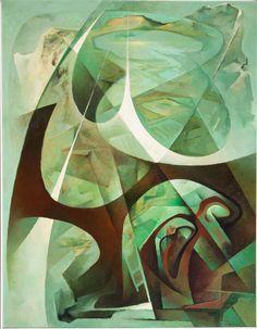 Tullio Crali, Paesaggio paracadutato 1964 - Tempera, olio su tela, 94x73cm