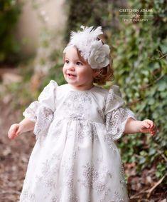Christening Lace Dress - Lacroix – Elena Collection Baby Christening Dress, Baby Baptism, Baptism Dress, Toddler Girl Dresses, Flower Girl Dresses, Baby Dresses, Flower Girls, Wedding Dresses, Lace Headbands