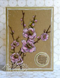 handmade card from Vili's Art: Spring . spring buds on a fruit tree . luv the look on kraft . Flower Stamp, Flower Cards, Christmas Cards 2017, Altenew Cards, Hand Made Greeting Cards, Scrapbooking, Cardmaking, Birthday Cards, Just For You
