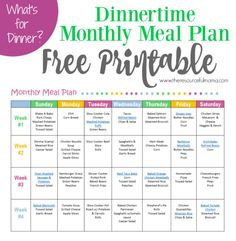 Free printable dinnertime monthly meal plan.