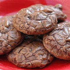 Brownie cookies. Get your brownie mix and add 1/3 cup oil, 1 egg and 2 TBS of water. Mix together to make a soft cookie like dough. Cover a cookie sheet with parchment paper. Drop mixture onto prepared cookie sheet by the teaspoonful. Bake at 375 degrees for about 8 minutes.