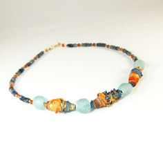 Jewelry Necklace Blue Tribal Art Beads by CalliopeAZCreations, $75.00