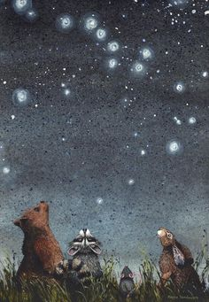 """Watercolor print, constellations by Maggie Vandewalle, 8 """"x matted to fit an 11 """"x frame - For this article Constellations is an print by watercolor artist Maggie Vandewalle. Art And Illustration, Constellations, Art Fantaisiste, Arte Obscura, Whimsical Art, Woodland Art, Illustrators, Folk Art, Fantasy Art"""