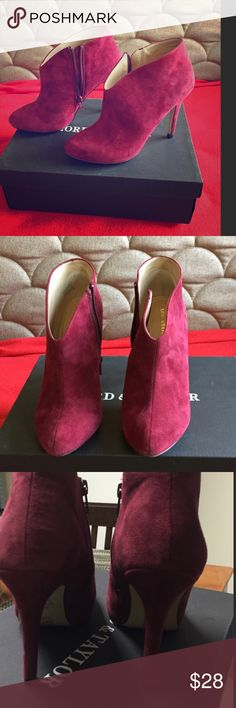 Magenta ankle booties 👠 Deep red/magenta booties in a soft velvety material. Perfect heel height - comfortable as far as heels go. Very true to size. Worn exactly twice. Would love to keep them, but they've just been sitting in my closet for a year. Need a good home! Lord & Taylor Shoes Ankle Boots & Booties