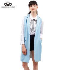 551ac65767ea8 Mujeres chaleco primavera marca chaqueta bolsillos Open Stitch sin mangas  azul Rosa beige chaqueta colete feminino