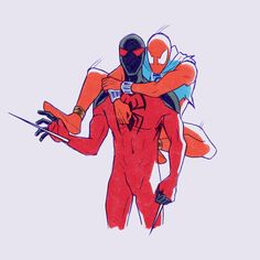 The Scarlet Spiders Marvel Comics Art, Marvel Heroes, Marvel Characters, Marvel Avengers, Black Spiderman, Amazing Spiderman, Scarlet Spider Kaine, Scarlet Spider Ben Reilly, Spider Art