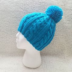 A turquoise cabled beanie ready to be sent out! Knitted Hats, Winter Hats, Beanie, Turquoise, Knitting, Pretty, Instagram Posts, Tricot, Green Turquoise