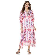 Antthony Printed Chiffon Caftan with Tank Dress