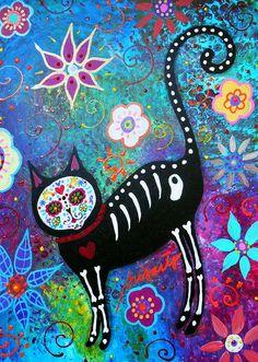 Cat Dia De Los Muertos Painting  - Cat Dia De Los Muertos Fine Art Print