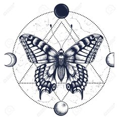 Illustration of Butterfly,moon phases.Tattoo and T-shirt design. vector art, clipart and stock vectors. Hand Tattoos, Torso Tattoos, Tattoo Drawings, Body Art Tattoos, Tatoos, Moth Tattoo Design, Butterfly Tattoo Designs, T Shirt Designs, Moon Phases Drawing