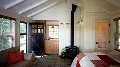 Cable Lake Cabin Guesthouse towards Wood Stove Love all the colors/texture in this!