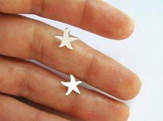 Silver Starfish Earrings - Silver Studs - Star Earrings - Hand Cut