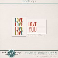 free digital and pocket scrapbook journal cards from SuzyQ Scraps!!