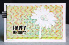 Stamping over gelli print backgrounds with Darkroom Door Daisy Eclectic Stamp! Card by Anneke De Clerck.