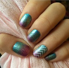 Love this!!! Carnival with White Chevron on Clear on accent nail. Shop at