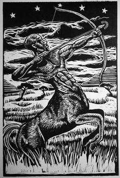 """The Centaur"", linocut"