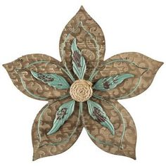 Natural & Turquoise MDF & Metal Flower Wall Decor