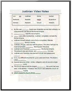 Emperor Justinian Video Skeleton Notes 6th Grade Social Studies Teaching Lesson Plan Templates