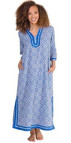 6ae45c20a6175 La Cera 2 3 Sleeve Cotton Caftan Dress in Mandolin Blue (Large (14-16)