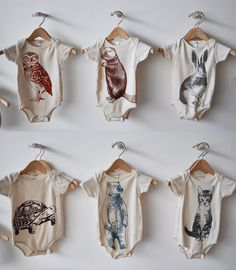 ANIMAL ONESIES by bookhouathome on Etsy, $26.00// Bear & bunny, too cute.