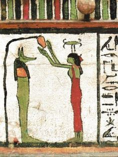 The goddess Neith lustrates the jackal-headed Duamutef. Each of the four sons of Horus was protected by one of the four tutelary goddesses, Isis, Nephthys, Neith and Serket. In this way the viscera of the deceased received a double degreeof protection. Decorated canopic chest. Third Intermediate Period. Egyptian Museum. Cairo. Taken from egyptian-gods.99k.org