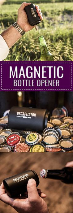 One of the coolest magnetic bottle cap opener #gadget ever! The Decapitator Bottle Opener can be used for beer, soda, soft drinks or anything with a cap! - CoolShitiBuy.com