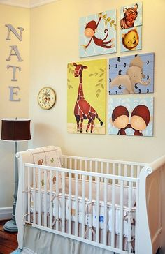 Adorable boy's nursery starring Gillespie the Giraffe and friends by Meghann O'Hara