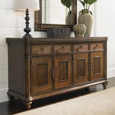 The Tommy Bahama Bali Hai Trident Buffet lends casual elegance, function, and loads of storage space to your dining room. This beautiful buffet. Hooker Furniture, Vintage Furniture, Living Room Furniture, Furniture Design, Tommy Bahama, Living Room Cabinets, Sideboard Buffet, Credenza Decor, Mirror Buffet