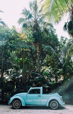 Vintage VW in Tulum. Mexico | Lucy Laucht for LaurenConrad.com - Vintage Volkswagen featured in Lauren Conrad's Wanderlust Wednesday blog post.