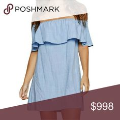 COMING SOON  Ruffled Off Shoulder Mini Back by popular demand!!!  Sweet blue off shoulder mini, ruffled top, light and flowy feeling. Elastic neckline.  Rayon/Polyester blend.  Made in USA Boutique  Dresses Mini
