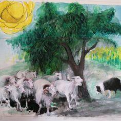 Návrh skleněné mozaiky. Přáním zákazníka bylo mít v mozaice stádo svých ovcí, které pase jejich pastevecký pejsek. Také má být v mozaice třešeň, kterou bohužel rozlámala vichřice. V pozadí má být pole slunečnic. Nelehký námět ale nic není neřešitelné! Budeme s Vámi sdílet tuto nelehkou práci. 🙂