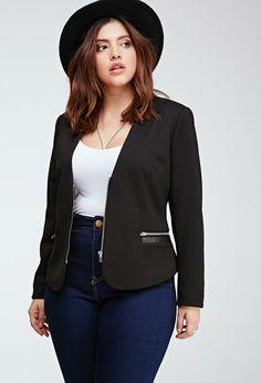Plus Size FOREVER 21+ Zip-Front Blazer
