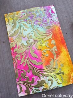 Gold texture paste applied through stencil over colorful distress ink background. One Lucky Day: Texture Paste Test Run. Card Making Techniques, Art Techniques, Art Journal Backgrounds, Texture Paste, Gold Texture, Paper Texture, Alcohol Ink Art, Stencil Art, Stenciling