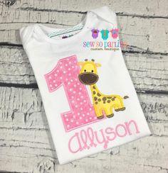 1st Birthday Giraffe Girl Shirt - Giraffe Birthday Shirt - Baby Girl Giraffe Birthday Outfit - Girl Birthday shirt