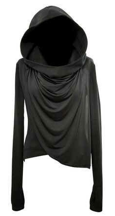 black jersey longsleeve shirt with giant hood <3 Goodness! Cabelas had these and I almost got one but talked myself out of it and I have regretted it ever since!! I want one so bad!