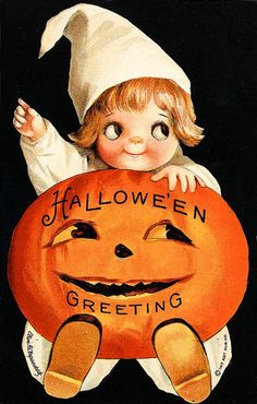 Halloween Ellen Clapsaddle Child Holding Pumpkin J O L Greeting Magnet H34 | eBay