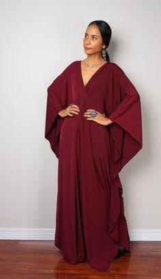 Burgundy Dress - Burgundy Kaftan - Kimono Butterfly Dress: Funky Elegant Collection No.1