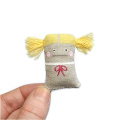 Miniature Toy Doll - Tiny Handmade Doll, Miniature Doll, Handpainted, Yellow, Pink, Dolls and Miniatures, Soft Sculpture, Fabric Toy, Poosac. via Etsy.