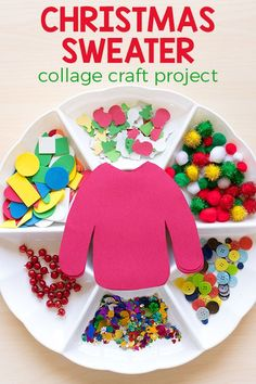 christmas kids Decorate an ugly Christmas sweater craft activity for kids. Christmas Art Projects, Christmas Crafts For Kids, Xmas Crafts, Christmas Fun, Craft Projects, Christmas Collage, Christmas Crafts For Preschoolers, Christmas Decorations, Craft Ideas