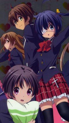 Kumin, Rikka, Yuta and Nubitane from Chuunibyou anime! Nisekoi, Hyouka, Clannad, Noragami, Rikka And Yuuta, Otaku, Lovely Complex, Anime Friendship, Kimi Ni Todoke