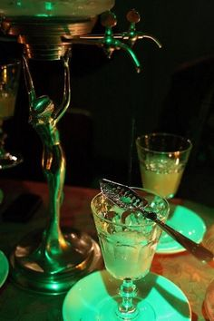 Green is on my mind. The green of Absinthe. (And an atmospheric green light for the works). Absinthe was known as the green fairy. Oscar Wilde, Preston Child, Green Fairy Absinthe, Rum, Artemisia Absinthium, Paris, Liquor, At Least, How To Make