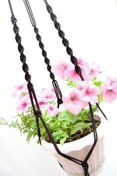 Indoor - Outdoor 50 inches Black - 5mm - Hanging Planter - Macrame Plant Hanger